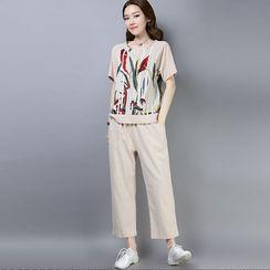 RAIN DEER - 套裝: 碎花短袖上衣 + 寬腿褲