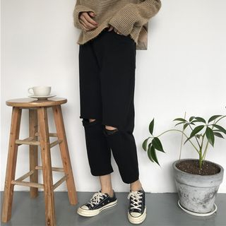 Moon City - Ripped Cropped Harem Jeans