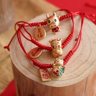 Chimi Chimi - 金屬牛紅繩手鏈