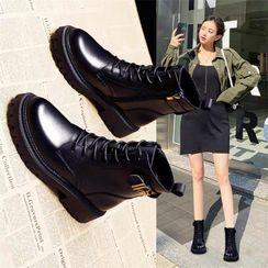 Belbie - Platform Lace-Up Short Boots