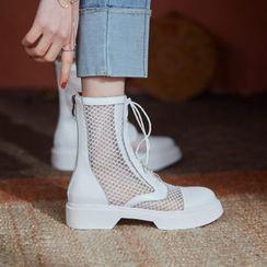 佳美 - 网纱拼接系带短靴