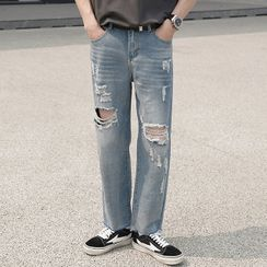 Rampo - Distressed Straight-Cut Jeans