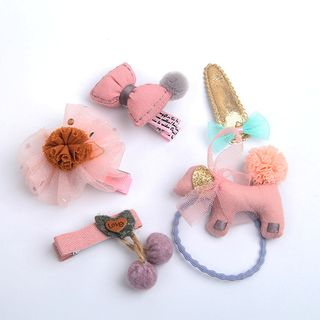 Janran - Kids Set: Hair Clip / Hair Tie (assorted designs)