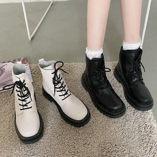 SouthBay Shoes - Platform Lace Up Short Boots