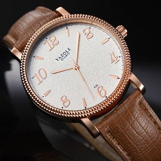 YAZOLE - 阿拉伯數字仿皮帶式手錶