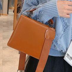 Necessita - Faux Leather Square Handbag With Shoulder Strap