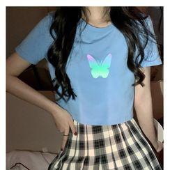 Sisyphi - Short-Sleeve Butterfly Print T-Shirt