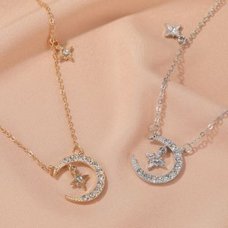 Mulyork - Rhinestone Moon & Star Pendant Necklace