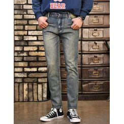 GERIO(ゲリオ) - Washed Straight-Cut Jeans