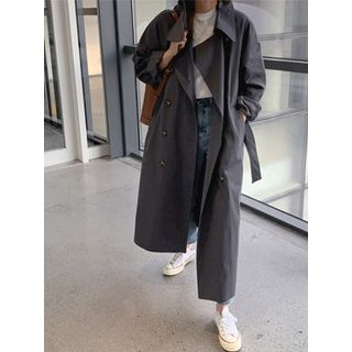 maybe-baby - Double-Breasted Long Trench Coat With Belt