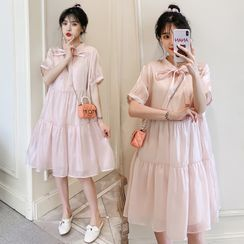 NOA - Maternity Short-Sleeve Tiered A-Line Dress / Undershorts / Set
