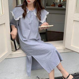 GOUB - Short-Sleeve Collared Midi Shift Dress