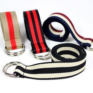 Rofuka - 條紋帆布無孔腰帶
