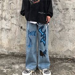 Banash - Wide-Leg Printed Jeans