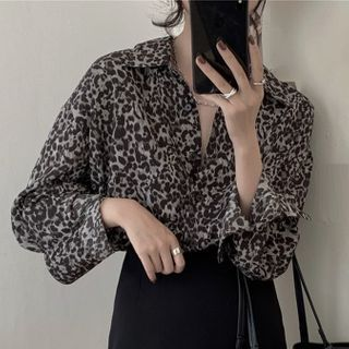 Soraka - Chiffon Leopard Long-Sleeve Shirt