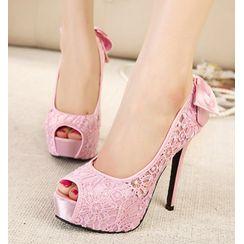 Niuna - 蕾丝厚底高跟凉鞋