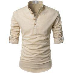Hansel - 長袖立領扣領襯衫