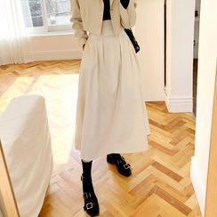 DEEPNY - Pleated-Waist Maxi Flare Skirt