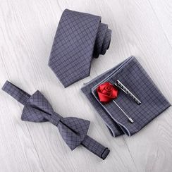Prodigy(プロディジー) - Set: Neck Tie + Bow Tie + Pocket Square + Tie Clip + Pin