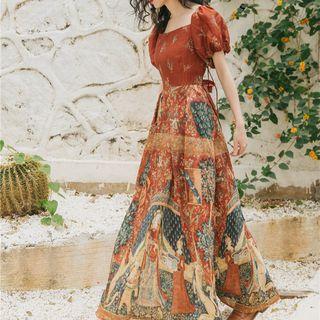 Nebbia - Print Puff-Sleeve A-Line Maxi Dress
