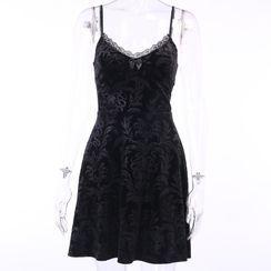 Solvor - Spaghetti Strap Lace Trim Jacquard Mini Dress