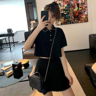 Apotheosis - Set: Short-Sleeve Polo Shirt + A-Line Skirt