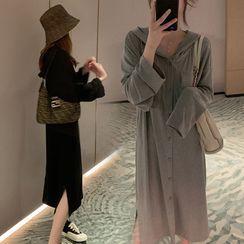 Hearty Bliss - Maternity Long-Sleeve Hooded Midi Shift Dress