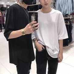 YERGO - 情侣纯色短袖T裇