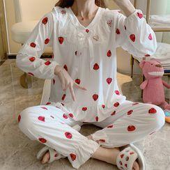 Sweetzer - Pajama Set: Strawberry Print Long-Sleeve T-Shirt + Pants