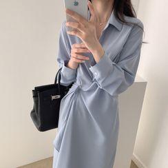 Einshine - Long-Sleeve Twist-Front Midi Shift Shirtdress