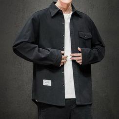 Moarit - Plain Flap-Pocket Long-Sleeve Shirt