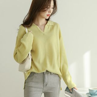 JUSTONE - Collared V-Neck Pastel Knit Top