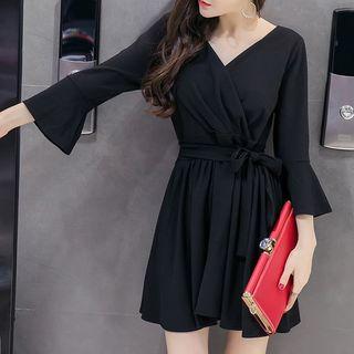 Fashion Street - 3/4-Sleeve Sashed A-Line Mini Dress