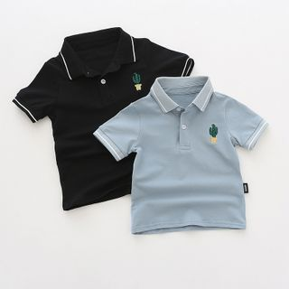 Dolphin Dream - Kids Cactus Embroidered Short-Sleeve Polo Shirt