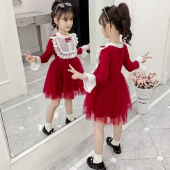Qin Qin - 小童蕾丝边长袖A字迷你连衣裙