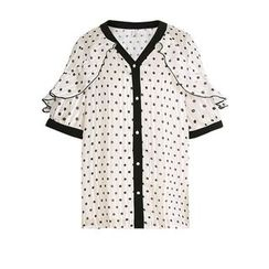 Paila - 荷叶配色边圆点图案衬衫