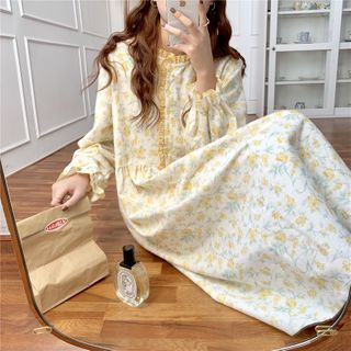 Tanee - Long-Sleeve Flower Print Loose-Fit Sleepdress