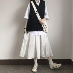 Sisyphi - Midi A-Line Skirt / Elbow-Sleeve Shirt / V-Neck Vest