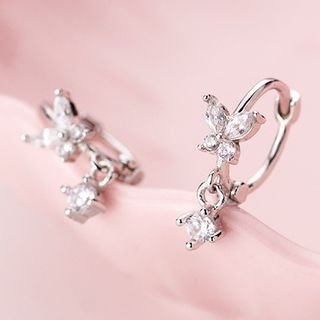 A'ROCH - 925 Sterling Silver Rhinestone Butterfly Hoop Earrings