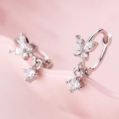 A'ROCH - 925 Sterling Silver Rhinestone Butterfly Hoop Earrings