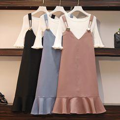 Sugar Town - Set: Bell-Sleeve T-Shirt + Ruffle Hem Midi A-Line Pinafore Dress