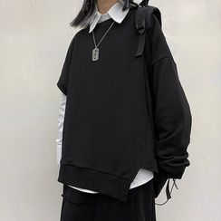 LINSI - Plain Long-Sleeve Shirt / Asymmetric Pullover