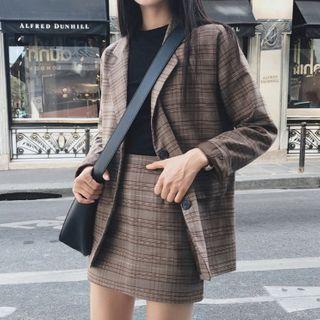 Yunhouse - Plaid Blazer / High-Waist Plaid A-Line Mini Skirt / Set