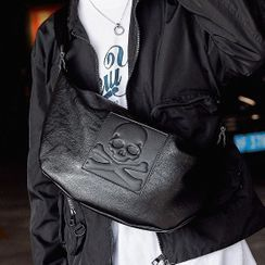 BagBuzz - Skull Faux Leather Sling Bag