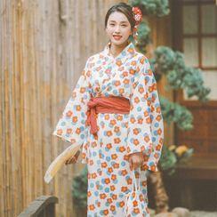 Birds & Mounts - Flower Print Kimono Costume