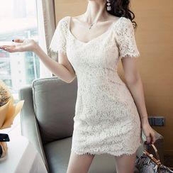 ISMY - Short-Sleeve Mini Sheath Lace Dress