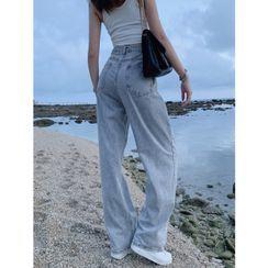 Shira - 卡扣高腰水洗直筒牛仔褲
