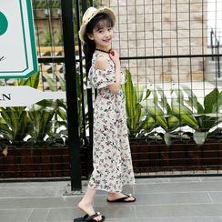 Cuckoo - Kids Floral Print Cold-Shoulder Short-Sleeve Maxi A-Line Dress