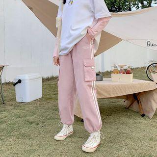 布衣天使 - 抽繩腳口f條紋運動褲
