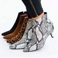 Avanti - Pointed Kitten Heel Ankle Boots